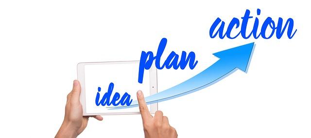 nápis idea plan action